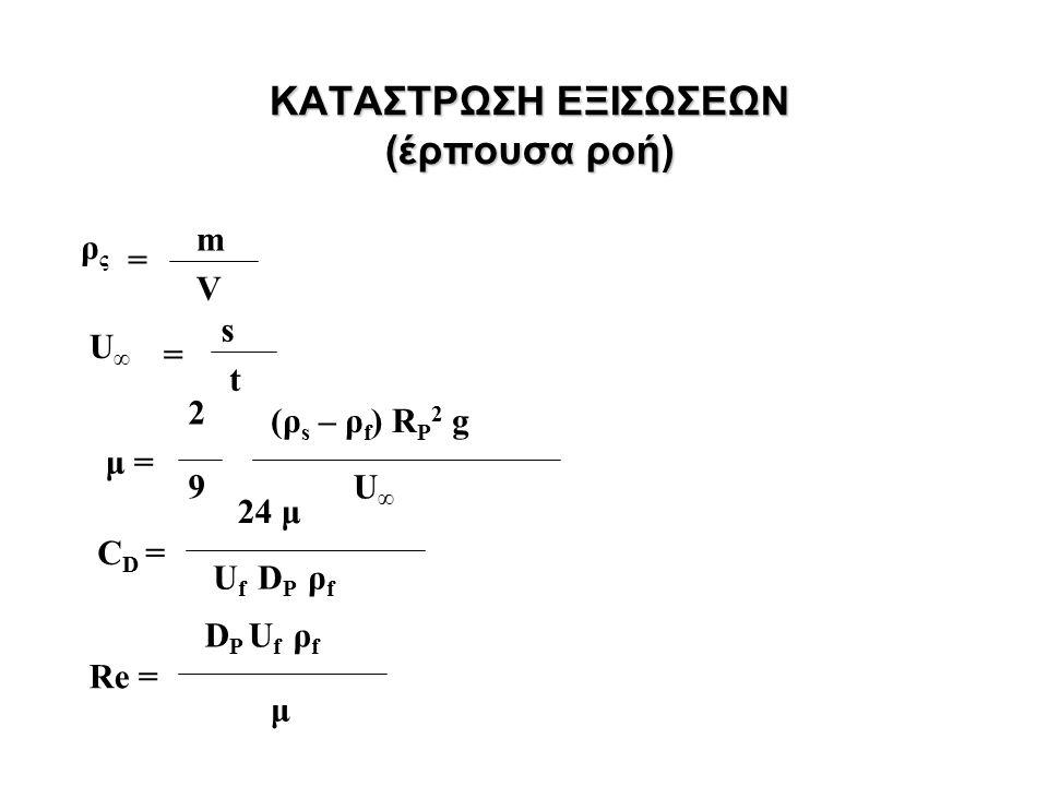 ΚΑΤΑΣΤΡΩΣΗ ΕΞΙΣΩΣΕΩΝ (έρπουσα ροή) m ρςρς = V U∞U∞ = s t μ = 2 9 (ρ s – ρ f ) R P 2 g U∞U∞ C D = 24 μ U f D P ρ f Re = D P U f ρ f μ
