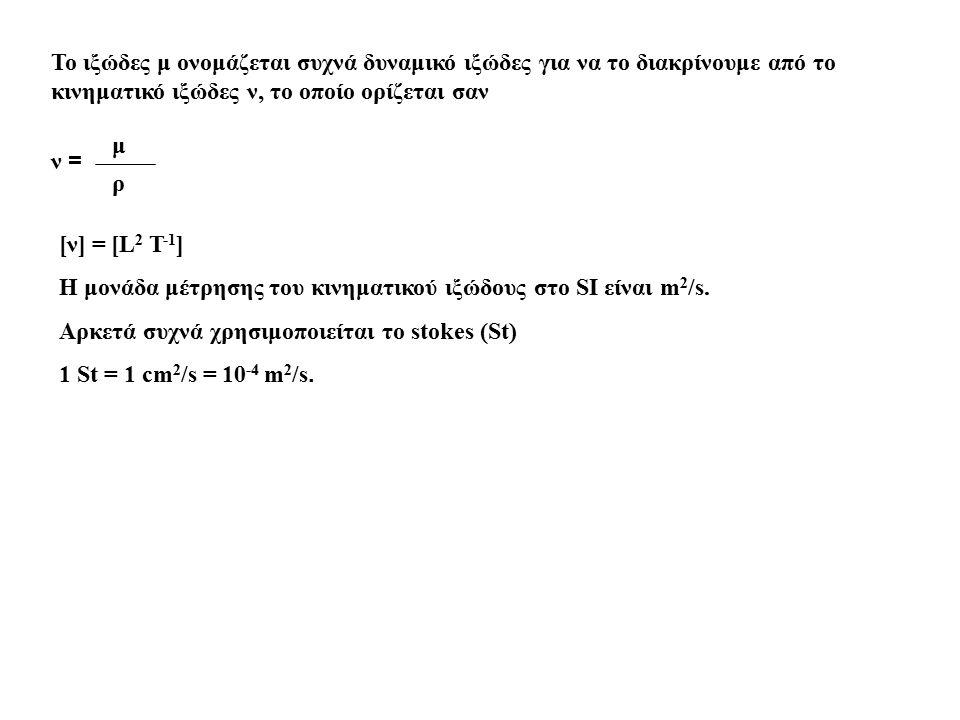 To ιξώδες μ ονομάζεται συχνά δυναμικό ιξώδες για να το διακρίνουμε από το κινηματικό ιξώδες ν, το οποίο ορίζεται σαν ν = μ ρ [ν] = [L 2 T -1 ] Η μονάδ