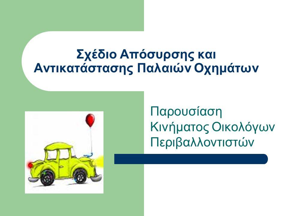 Σχέδιο Απόσυρσης και Αντικατάστασης Παλαιών Οχημάτων Παρουσίαση Κινήματος Οικολόγων Περιβαλλοντιστών