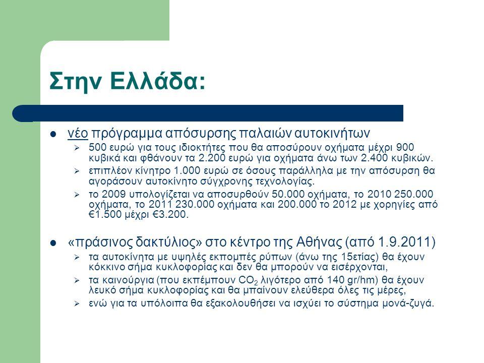 Στην Ελλάδα: νέο πρόγραμμα απόσυρσης παλαιών αυτοκινήτων  500 ευρώ για τους ιδιοκτήτες που θα αποσύρουν οχήματα μέχρι 900 κυβικά και φθάνουν τα 2.200 ευρώ για οχήματα άνω των 2.400 κυβικών.