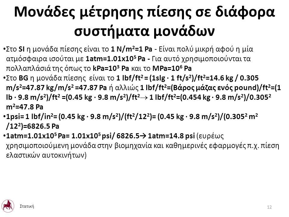 Μονάδες μέτρησης πίεσης σε διάφορα συστήματα μονάδων Στο SI η μονάδα πίεσης είναι το 1 N/m 2 =1 Pa - Είναι πολύ μικρή αφού η μία ατμόσφαιρα ισούται με 1atm=1.01x10 5 Pa - Για αυτό χρησιμοποιούνται τα πολλαπλάσιά της όπως το kPa=10 3 Pa και το MPa=10 6 Pa Στο BG η μονάδα πίεσης είναι το 1 lbf/ft 2 = (1slg · 1 ft/s 2 )/ft 2 =14.6 kg / 0.305 m/s 2 =47.87 kg/m/s 2 =47.87 Pa ή αλλιώς 1 lbf/ft 2 =(Βάρος μάζας ενός pound)/ft 2 =(1 lb · 9.8 m/s 2 )/ft 2 =(0.45 kg · 9.8 m/s 2 )/ft 2  1 lbf/ft 2 =(0.454 kg · 9.8 m/s 2 )/0.305 2 m 2 =47.8 Pa 1psi= 1 lbf/in 2 = (0.45 kg · 9.8 m/s 2 )/(ft 2 /12 2 )= (0.45 kg · 9.8 m/s 2 )/(0.305 2 m 2 /12 2 )=6826.5 Pa 1atm=1.01x10 5 Pa= 1.01x10 5 psi/ 6826.5→ 1atm=14.8 psi (ευρέως χρησιμοποιούμενη μονάδα στην βιομηχανία και καθημερινές εφαρμογές π.χ.