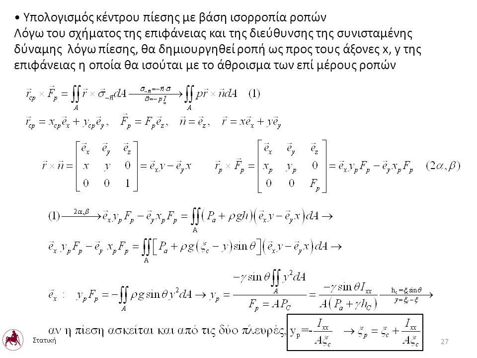Υπολογισμός κέντρου πίεσης με βάση ισορροπία ροπών Λόγω του σχήματος της επιφάνειας και της διεύθυνσης της συνισταμένης δύναμης λόγω πίεσης, θα δημιουργηθεί ροπή ως προς τους άξονες x, y της επιφάνειας η οποία θα ισούται με το άθροισμα των επί μέρους ροπών Στατική 27