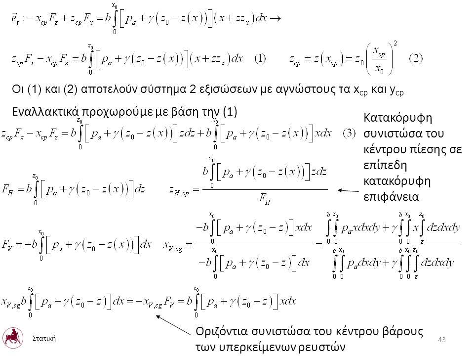 Οι (1) και (2) αποτελούν σύστημα 2 εξισώσεων με αγνώστους τα x cp και y cp Εναλλακτικά προχωρούμε με βάση την (1) Κατακόρυφη συνιστώσα του κέντρου πίεσης σε επίπεδη κατακόρυφη επιφάνεια Οριζόντια συνιστώσα του κέντρου βάρους των υπερκείμενων ρευστών Στατική 43