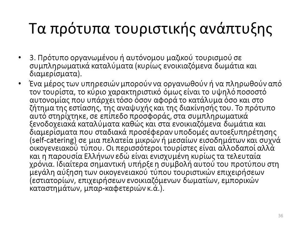 Τα πρότυπα τουριστικής ανάπτυξης 3. Πρότυπο οργανωμένου ή αυτόνομου μαζικού τουρισμού σε συμπληρωματικά καταλύματα (κυρίως ενοικιαζόμενα δωμάτια και δ