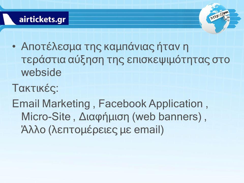 Αποτέλεσμα της καμπάνιας ήταν η τεράστια αύξηση της επισκεψιμότητας στο webside Τακτικές: Email Marketing, Facebook Application, Micro-Site, Διαφήμιση (web banners), Άλλο (λεπτομέρειες με email)