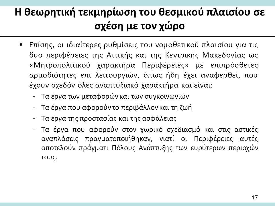 Η θεωρητική τεκμηρίωση του θεσμικού πλαισίου σε σχέση με τον χώρο Επίσης, οι ιδιαίτερες ρυθμίσεις του νομοθετικού πλαισίου για τις δυο περιφέρειες της Αττικής και της Κεντρικής Μακεδονίας ως «Μητροπολιτικού χαρακτήρα Περιφέρειες» με επιπρόσθετες αρμοδιότητες επί λειτουργιών, όπως ήδη έχει αναφερθεί, που έχουν σχεδόν όλες αναπτυξιακό χαρακτήρα και είναι: -Τα έργα των μεταφορών και των συγκοινωνιών -Τα έργα που αφορούν το περιβάλλον και τη ζωή -Τα έργα της προστασίας και της ασφάλειας -Τα έργα που αφορούν στον χωρικό σχεδιασμό και στις αστικές αναπλάσεις πραγματοποιήθηκαν, γιατί οι Περιφέρειες αυτές αποτελούν πράγματι Πόλους Ανάπτυξης των ευρύτερων περιοχών τους.