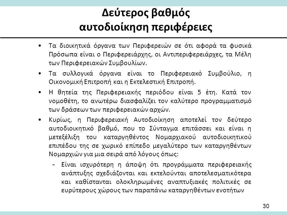Δεύτερος βαθμός αυτοδιοίκηση περιφέρειες Τα διοικητικά όργανα των Περιφερειών σε ότι αφορά τα φυσικά Πρόσωπα είναι ο Περιφερειάρχης, οι Αντιπεριφερειάρχες, τα Μέλη των Περιφερειακών Συμβουλίων.