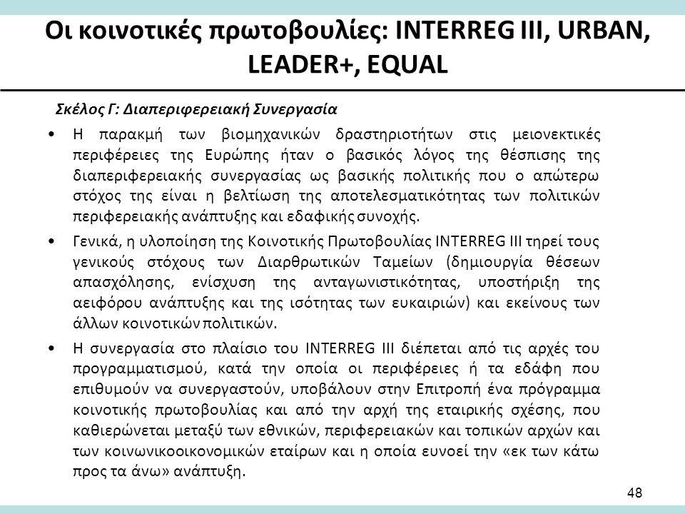 Οι κοινοτικές πρωτοβουλίες: INTERREG III, URBAN, LEADER+, EQUAL Σκέλος Γ: Διαπεριφερειακή Συνεργασία Η παρακμή των βιομηχανικών δραστηριοτήτων στις μειονεκτικές περιφέρειες της Ευρώπης ήταν ο βασικός λόγος της θέσπισης της διαπεριφερειακής συνεργασίας ως βασικής πολιτικής που ο απώτερω στόχος της είναι η βελτίωση της αποτελεσματικότητας των πολιτικών περιφερειακής ανάπτυξης και εδαφικής συνοχής.