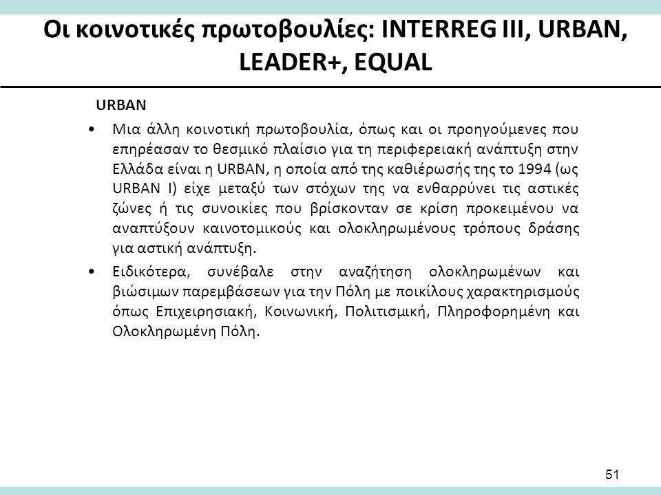 Οι κοινοτικές πρωτοβουλίες: INTERREG III, URBAN, LEADER+, EQUAL URBAN Μια άλλη κοινοτική πρωτοβουλία, όπως και οι προηγούμενες που επηρέασαν το θεσμικό πλαίσιο για τη περιφερειακή ανάπτυξη στην Ελλάδα είναι η URBAN, η οποία από της καθιέρωσής της το 1994 (ως URBAN I) είχε μεταξύ των στόχων της να ενθαρρύνει τις αστικές ζώνες ή τις συνοικίες που βρίσκονταν σε κρίση προκειμένου να αναπτύξουν καινοτομικούς και ολοκληρωμένους τρόπους δράσης για αστική ανάπτυξη.