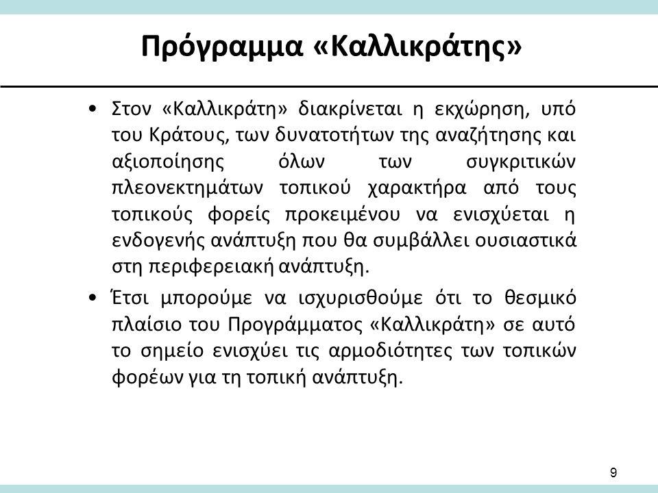 Η σημερινή πολίτικη και οικονομική κρίση και ο «Καλλικράτης» Ένα βασικό στοιχείο είναι ότι η εφαρμογή του «Καλλικράτη» συμπίπτει με την οικονομική κρίση στη Χώρα μας σε συνδυασμό με τις «απαγορευτικές επιταγές» των διαδοχικών «Μνημονίων» της Τριμερούς Επιτροπής, που επιβάλλουν υλοποιήσεις περιοριστικών προγραμμάτων δημοσιονομικής προσαρμογής, γεγονός που είναι δυνατόν να αναστέλλει μεταρρυθμίσεις, οι οποίες έχουν καταρχήν οικονομικό κόστος.