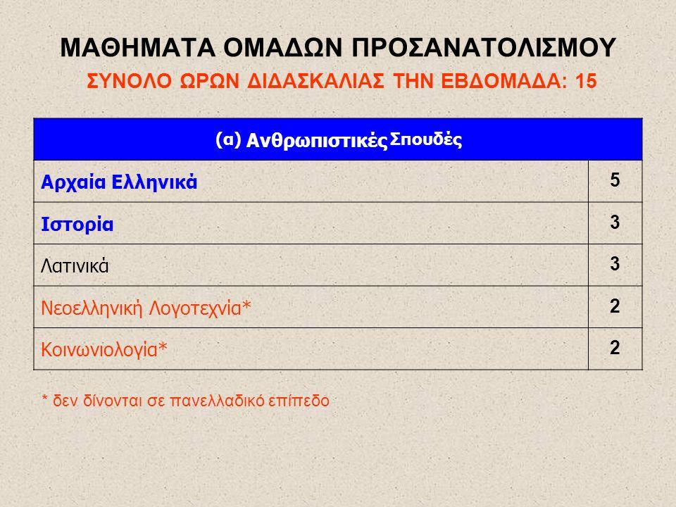 ΜΑΘΗΜΑΤΑ ΟΜΑΔΩΝ ΠΡΟΣΑΝΑΤΟΛΙΣΜΟΥ ΣΥΝΟΛΟ ΩΡΩΝ ΔΙΔΑΣΚΑΛΙΑΣ ΤΗΝ ΕΒΔΟΜΑΔΑ: 15 (α) Ανθρωπιστικές Σπουδές Αρχαία Ελληνικά 5 Ιστορία 3 Λατινικά 3 Νεοελληνική