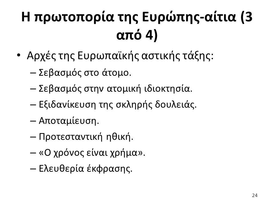 Η πρωτοπορία της Ευρώπης-αίτια (3 από 4) Αρχές της Ευρωπαϊκής αστικής τάξης: – Σεβασμός στο άτομο. – Σεβασμός στην ατομική ιδιοκτησία. – Εξιδανίκευση