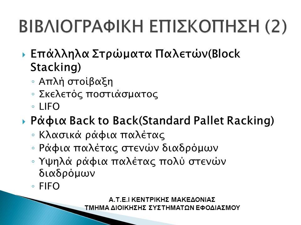  Επάλληλα Στρώματα Παλετών(Block Stacking) ◦ Α πλή στοίβαξη ◦ Σ κελετός ποστιάσματος ◦ LIFO  Ράφια Back to Back(Standard Pallet Racking) ◦ Κλασικά ράφια παλέτας ◦ Ράφια παλέτας στενών διαδρόμων ◦ Υψηλά ράφια παλέτας πολύ στενών διαδρόμων ◦ FIFO Α.