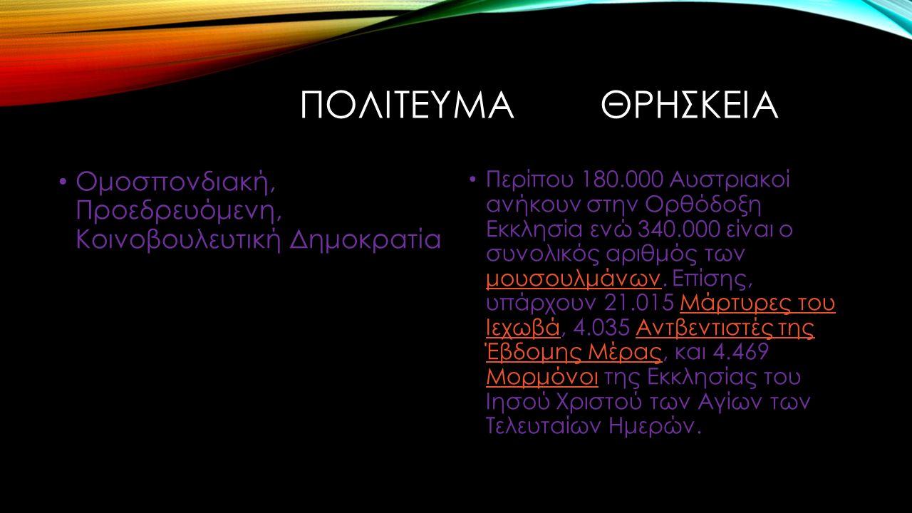 ΕΚΤΑΣΗ ΓΛΩΣΣΑ 83.871 χιλιόμετρα Επίσημη γλώσσα είναι τα Γερμανικά, ενώ ομιλούνται τα Σλοβενικά και τα Ουγγρικά.ΓερμανικάΣλοβενικάΟυγγρικά