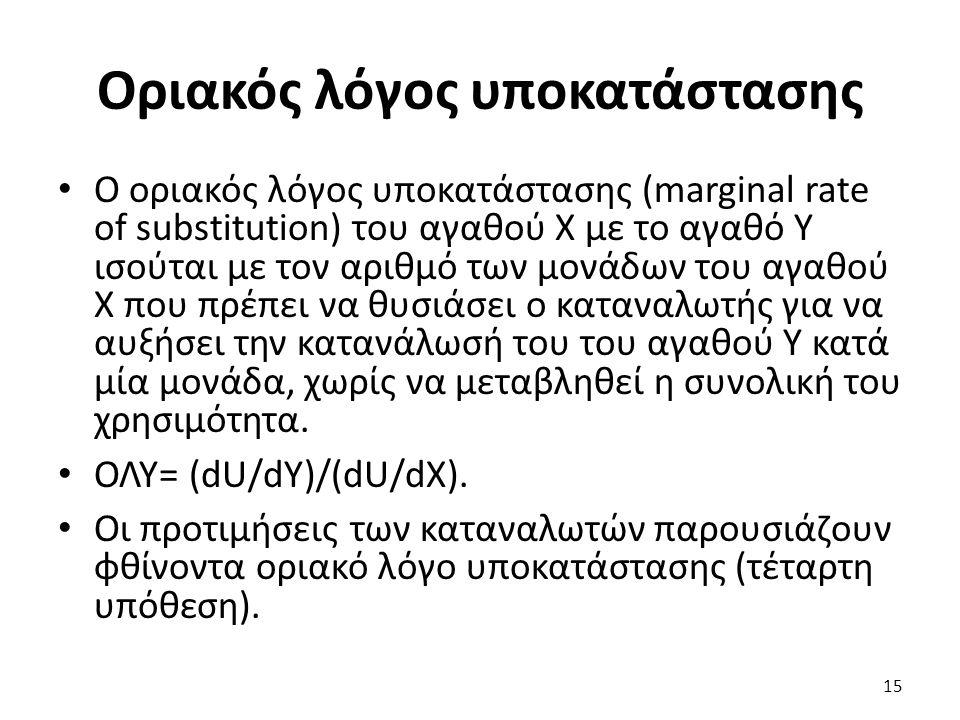 Ο οριακός λόγος υποκατάστασης (marginal rate of substitution) του αγαθού Χ με το αγαθό Υ ισούται με τον αριθμό των μονάδων του αγαθού Χ που πρέπει να θυσιάσει ο καταναλωτής για να αυξήσει την κατανάλωσή του του αγαθού Υ κατά μία μονάδα, χωρίς να μεταβληθεί η συνολική του χρησιμότητα.
