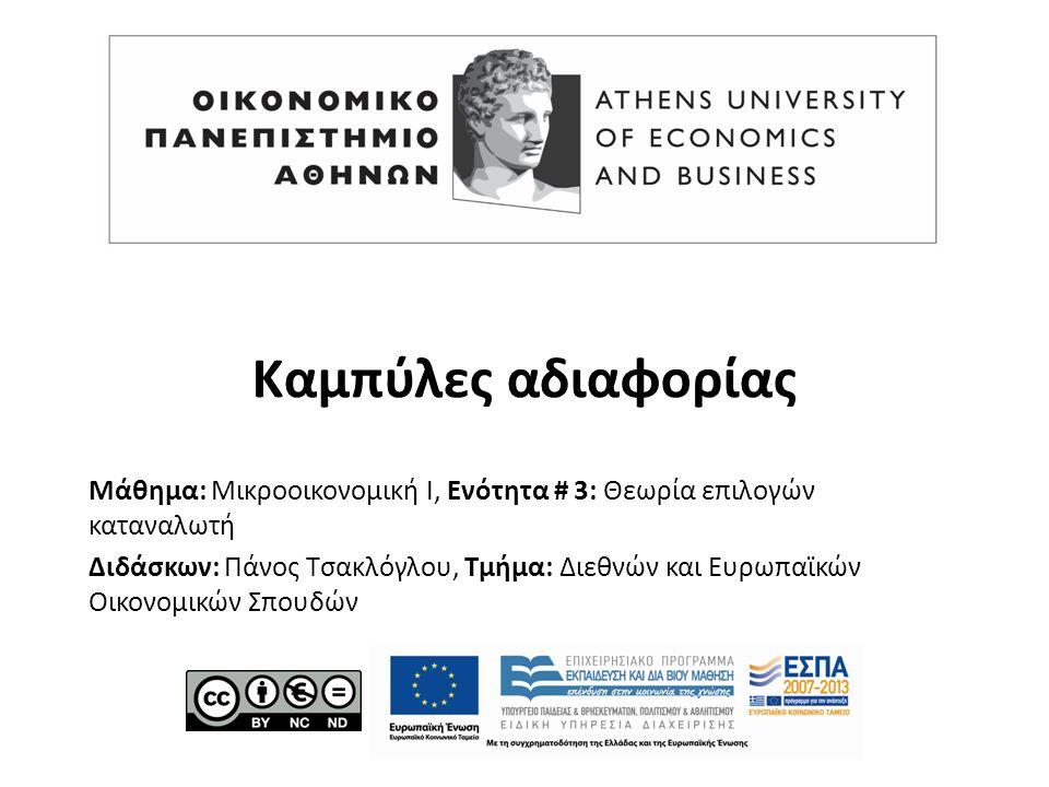 Μάθημα: Μικροοικονομική Ι, Ενότητα # 3: Θεωρία επιλογών καταναλωτή Διδάσκων: Πάνος Τσακλόγλου, Τμήμα: Διεθνών και Ευρωπαϊκών Οικονομικών Σπουδών Καμπύλες αδιαφορίας