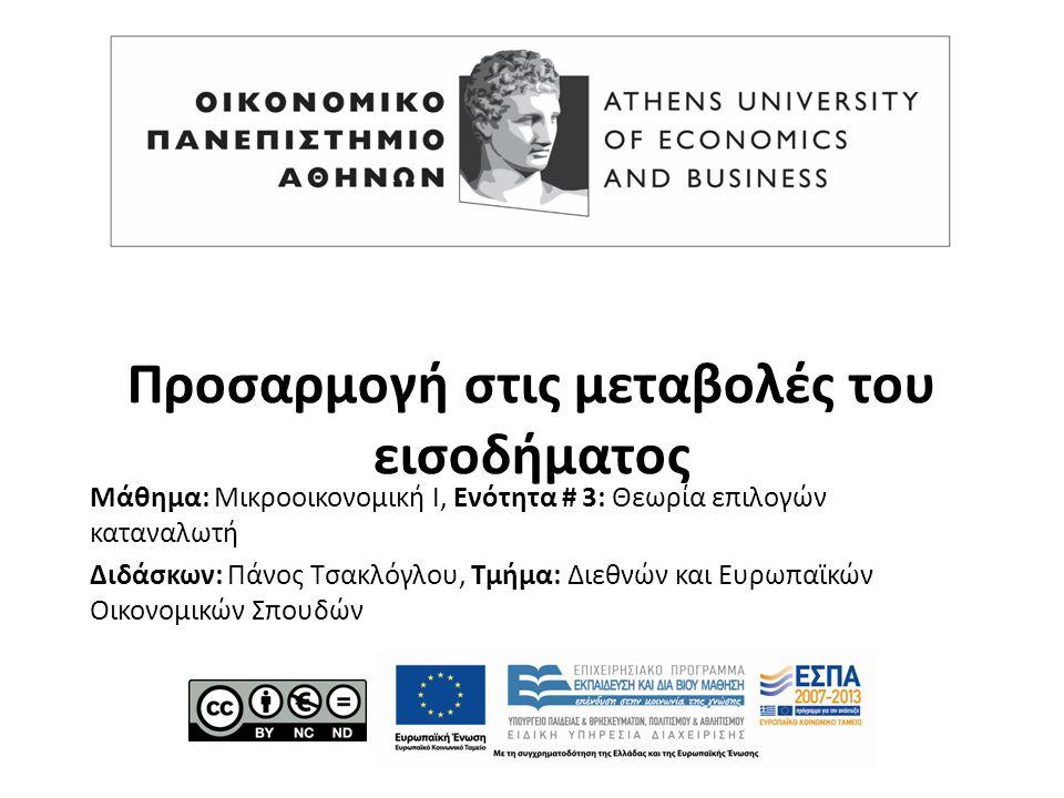 Μάθημα: Μικροοικονομική Ι, Ενότητα # 3: Θεωρία επιλογών καταναλωτή Διδάσκων: Πάνος Τσακλόγλου, Τμήμα: Διεθνών και Ευρωπαϊκών Οικονομικών Σπουδών Προσαρμογή στις μεταβολές του εισοδήματος