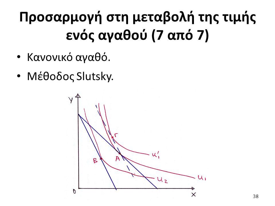 Προσαρμογή στη μεταβολή της τιμής ενός αγαθού (7 από 7) Κανονικό αγαθό. Μέθοδος Slutsky. 38