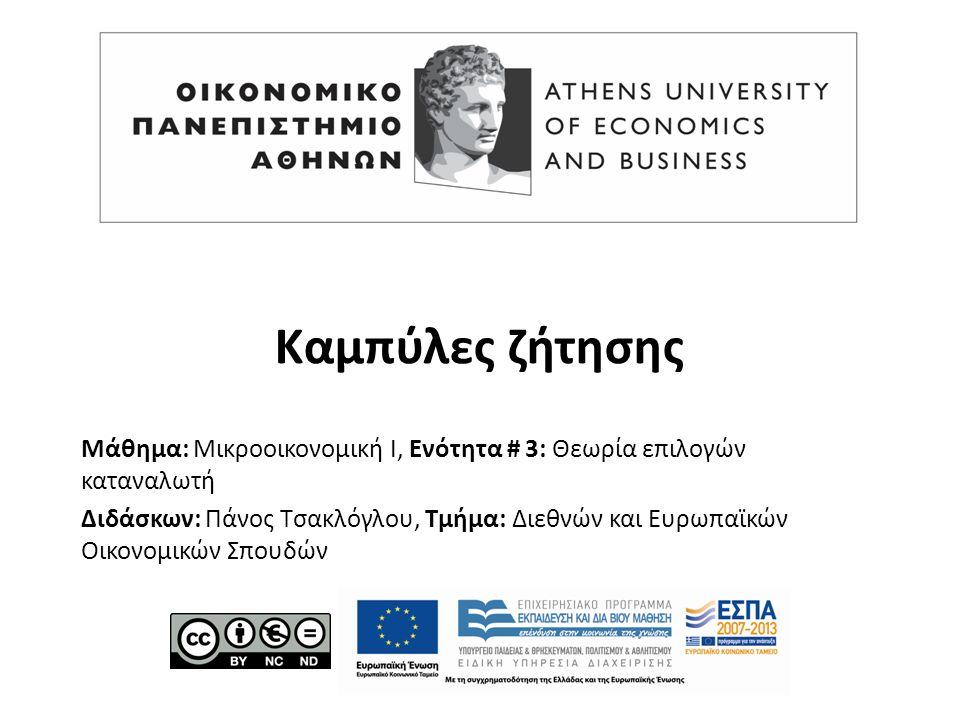 Μάθημα: Μικροοικονομική Ι, Ενότητα # 3: Θεωρία επιλογών καταναλωτή Διδάσκων: Πάνος Τσακλόγλου, Τμήμα: Διεθνών και Ευρωπαϊκών Οικονομικών Σπουδών Καμπύλες ζήτησης