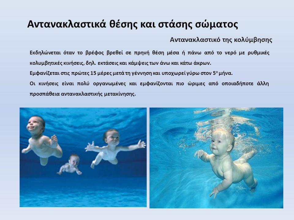 Αντανακλαστικό της κολύμβησης Αντανακλαστικά θέσης και στάσης σώματος Εκδηλώνεται όταν το βρέφος βρεθεί σε πρηνή θέση μέσα ή πάνω από το νερό με ρυθμικές κολυμβητικές κινήσεις, δηλ.