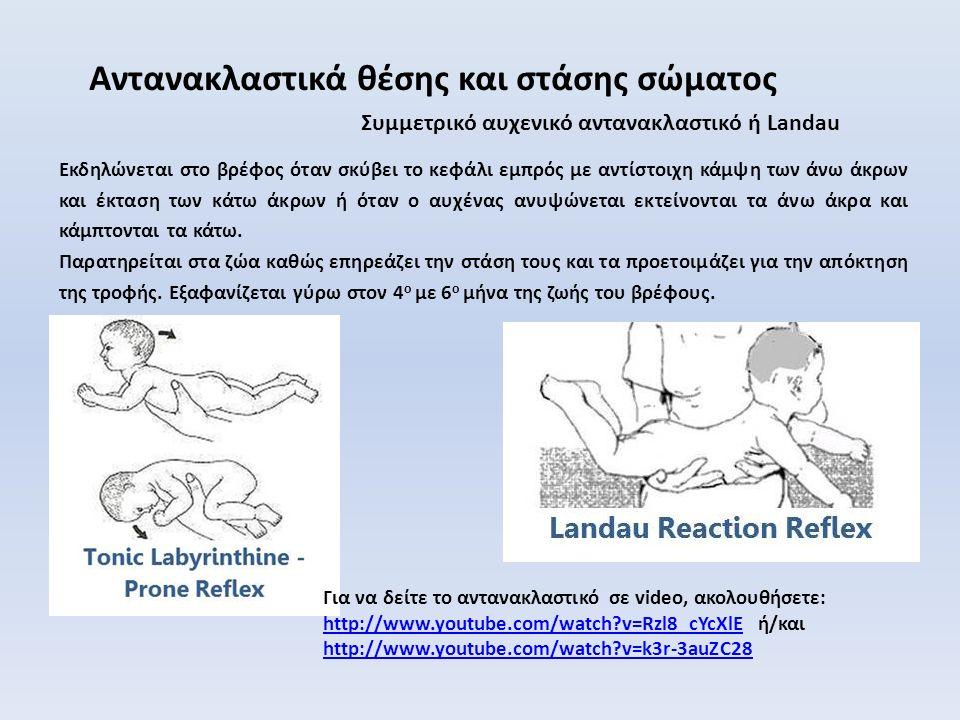 Συμµετρικό αυχενικό αντανακλαστικό ή Landau Αντανακλαστικά θέσης και στάσης σώματος Εκδηλώνεται στο βρέφος όταν σκύβει το κεφάλι εμπρός με αντίστοιχη κάμψη των άνω άκρων και έκταση των κάτω άκρων ή όταν ο αυχένας ανυψώνεται εκτείνονται τα άνω άκρα και κάμπτονται τα κάτω.