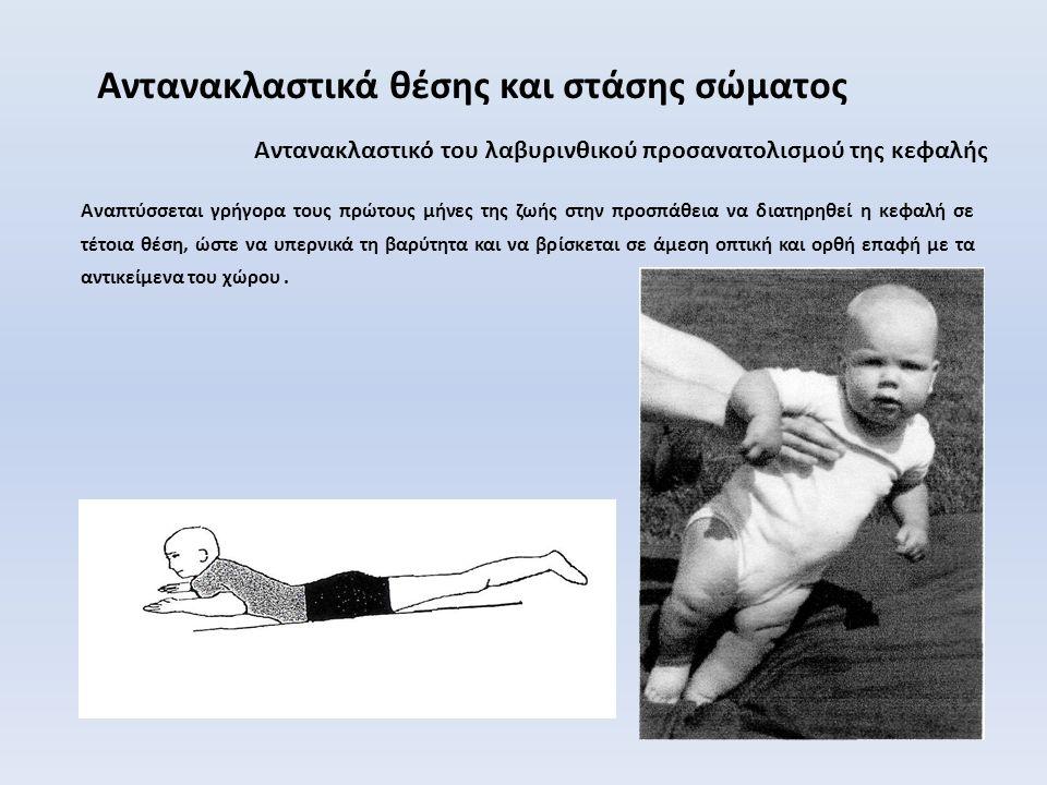 Αντανακλαστικό του αλεξιπτωτιστή (parachute reflex) Αντανακλαστικά θέσης και στάσης σώματος Εκλύεται όταν το βρέφος συγκρατείται κάθετα στον αέρα και το γείρουμε απότομα προς το έδαφος σα να πέφτει.