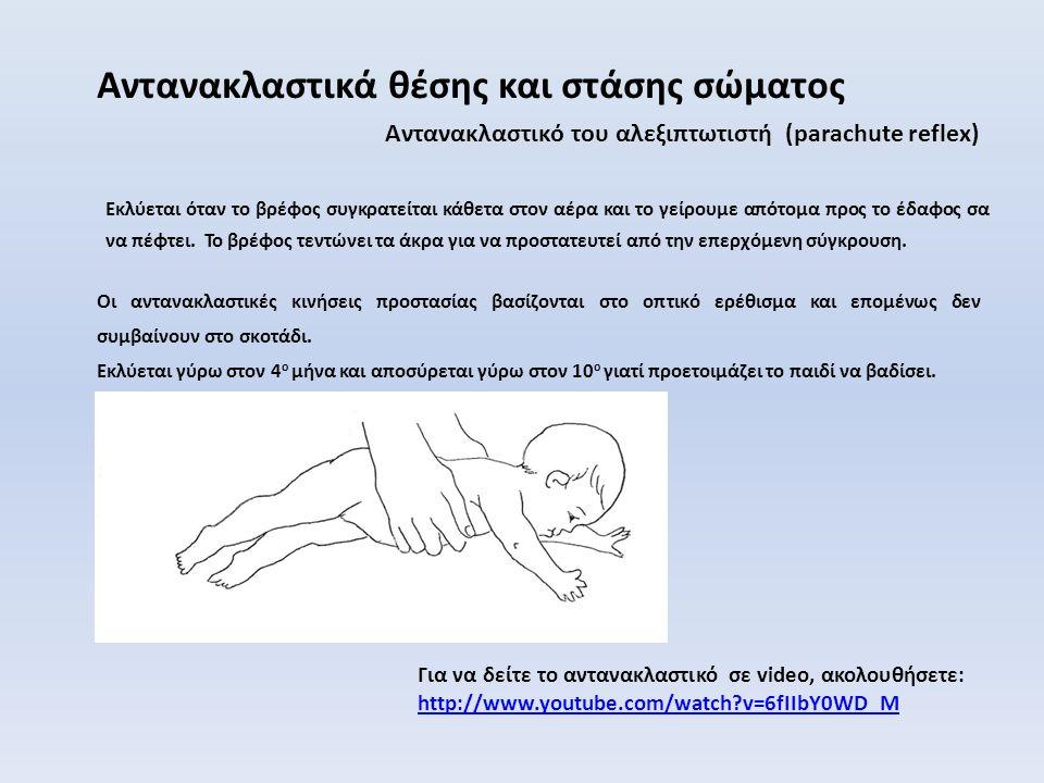 Αντανακλαστικό του αλεξιπτωτιστή (parachute reflex) Αντανακλαστικά θέσης και στάσης σώματος Εκλύεται όταν το βρέφος συγκρατείται κάθετα στον αέρα και