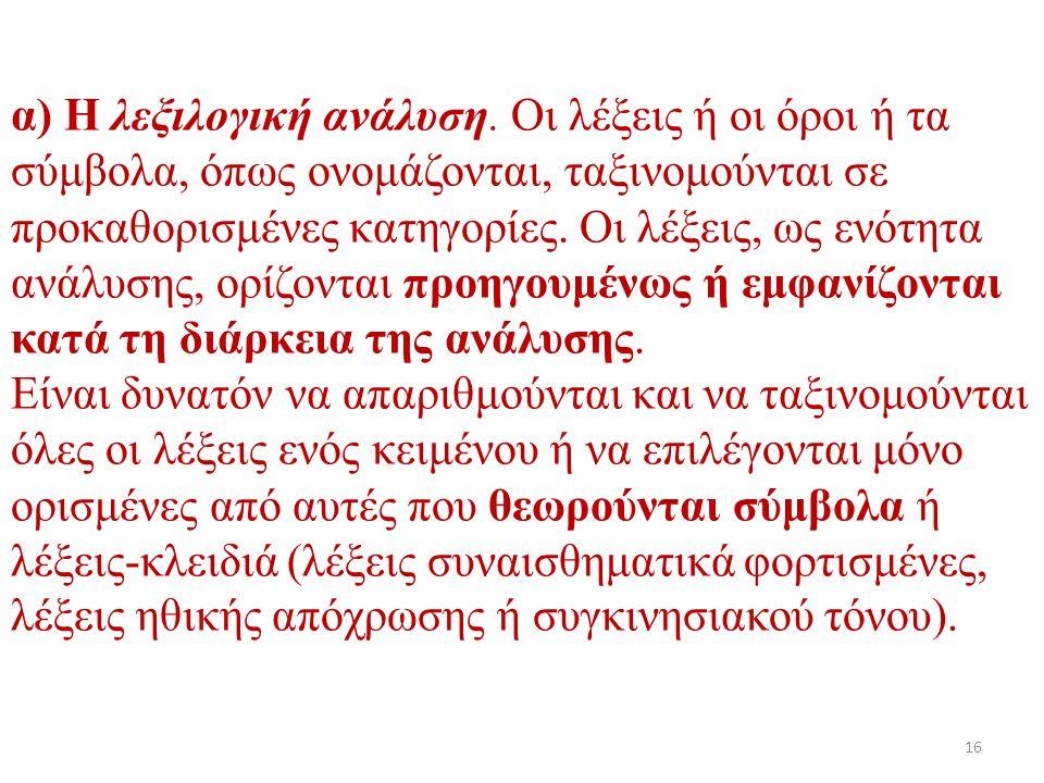 α) Η λεξιλογική ανάλυση.