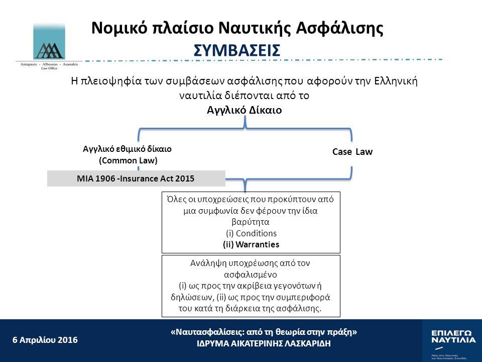 6 Aπριλίου 2016 «Ναυτασφαλίσεις: από τη θεωρία στην πράξη» ΙΔΡΥΜΑ ΑΙΚΑΤΕΡΙΝΗΣ ΛΑΣΚΑΡΙΔΗ Νομικό πλαίσιο Ναυτικής Ασφάλισης ΣΥΜΒΑΣΕΙΣ Η πλειοψηφία των συμβάσεων ασφάλισης που αφορούν την Ελληνική ναυτιλία διέπονται από το Aγγλικό Δίκαιο Αγγλικό εθιμικό δίκαιο (Common Law) Case Law Όλες οι υποχρεώσεις που προκύπτουν από μια συμφωνία δεν φέρουν την ίδια βαρύτητα (i) Conditions (ii) Warranties Ανάληψη υποχρέωσης από τον ασφαλισμένο (i) ως προς την ακρίβεια γεγονότων ή δηλώσεων, (ii) ως προς την συμπεριφορά του κατά τη διάρκεια της ασφάλισης.