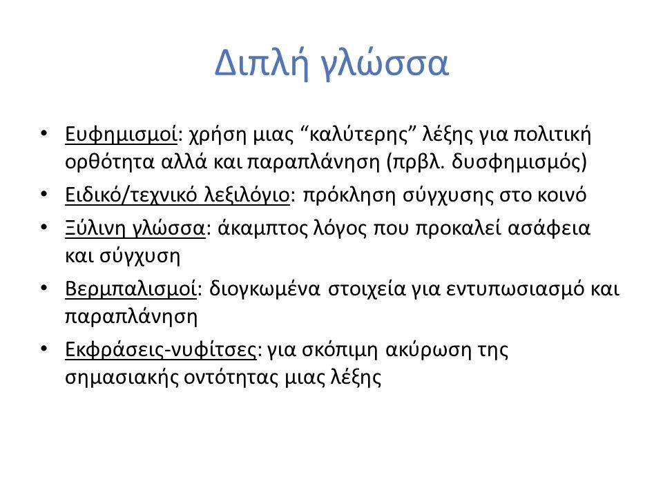 Διπλή γλώσσα Ευφημισμοί: χρήση μιας καλύτερης λέξης για πολιτική ορθότητα αλλά και παραπλάνηση (πρβλ.