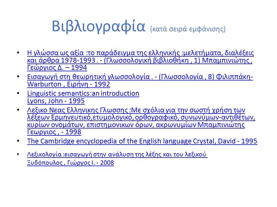Βιβλιογραφία (κατά σειρά εμφάνισης) Η γλώσσα ως αξία :το παράδειγμα της ελληνικής :μελετήματα, διαλέξεις και άρθρα 1978-1993.