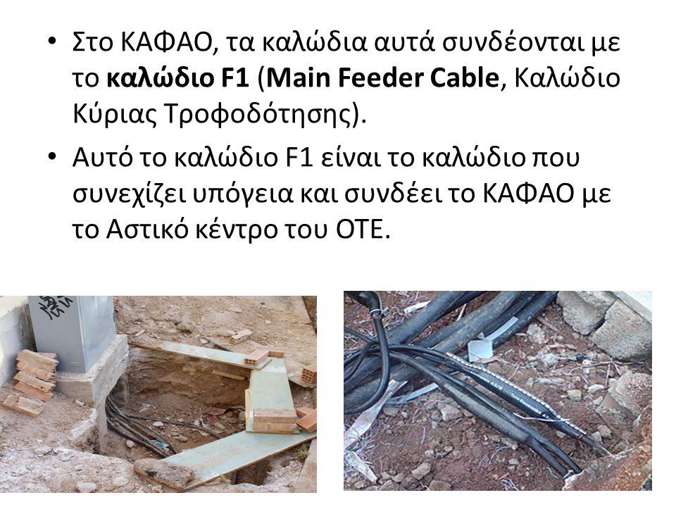 Στο ΚΑΦΑΟ, τα καλώδια αυτά συνδέονται με το καλώδιο F1 (Main Feeder Cable, Καλώδιο Κύριας Τροφοδότησης). Αυτό το καλώδιο F1 είναι το καλώδιο που συνεχ