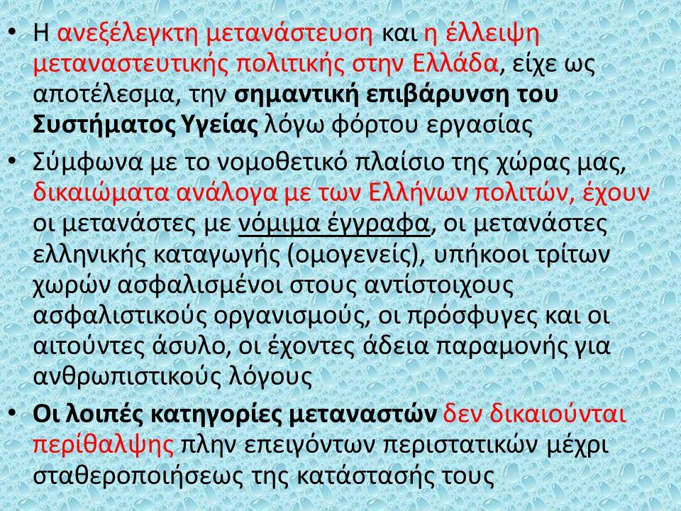 Η ανεξέλεγκτη μετανάστευση και η έλλειψη μεταναστευτικής πολιτικής στην Ελλάδα, είχε ως αποτέλεσμα, την σημαντική επιβάρυνση του Συστήματος Υγείας λόγω φόρτου εργασίας Σύμφωνα με το νομοθετικό πλαίσιο της χώρας μας, δικαιώματα ανάλογα με των Ελλήνων πολιτών, έχουν οι μετανάστες με νόμιμα έγγραφα, οι μετανάστες ελληνικής καταγωγής (ομογενείς), υπήκοοι τρίτων χωρών ασφαλισμένοι στους αντίστοιχους ασφαλιστικούς οργανισμούς, οι πρόσφυγες και οι αιτούντες άσυλο, οι έχοντες άδεια παραμονής για ανθρωπιστικούς λόγους Οι λοιπές κατηγορίες μεταναστών δεν δικαιούνται περίθαλψης πλην επειγόντων περιστατικών μέχρι σταθεροποιήσεως της κατάστασής τους