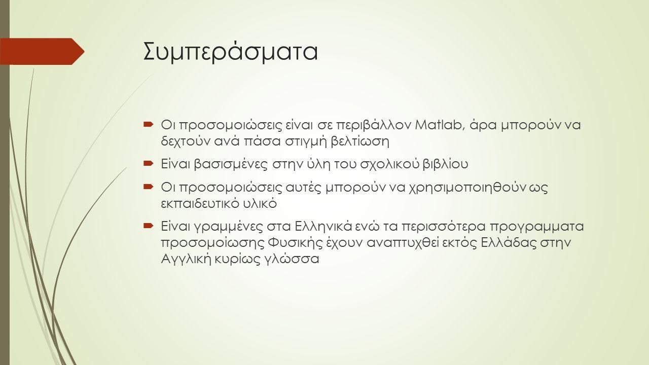 Συμπεράσματα  Οι προσομοιώσεις είναι σε περιβάλλον Matlab, άρα μπορούν να δεχτούν ανά πάσα στιγμή βελτίωση  Είναι βασισμένες στην ύλη του σχολικού βιβλίου  Οι προσομοιώσεις αυτές μπορούν να χρησιμοποιηθούν ως εκπαιδευτικό υλικό  Είναι γραμμένες στα Ελληνικά ενώ τα περισσότερα προγραμματα προσομοίωσης Φυσικής έχουν αναπτυχθεί εκτός Ελλάδας στην Αγγλική κυρίως γλώσσα