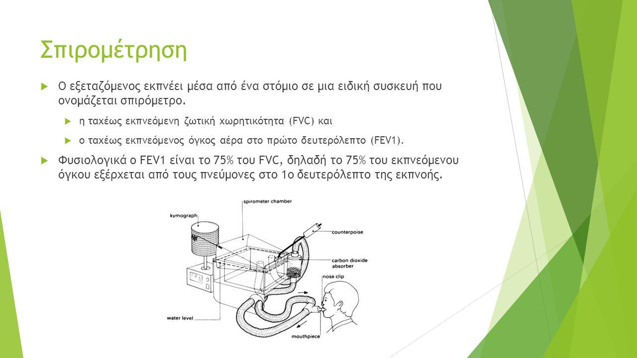 Σπιρομέτρηση  Ο εξεταζόμενος εκπνέει μέσα από ένα στόμιο σε μια ειδική συσκευή που ονομάζεται σπιρόμετρο.  η ταχέως εκπνεόμενη ζωτική χωρητικότητα (