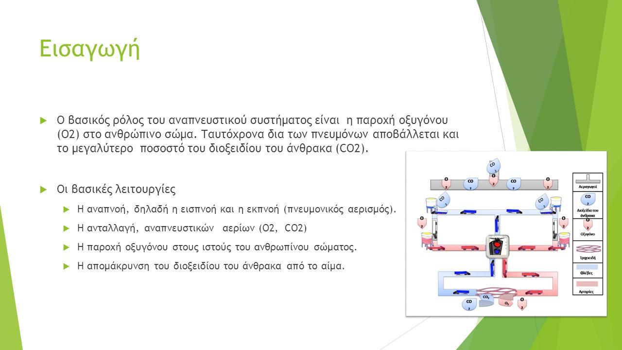Εισαγωγή  Ο βασικός ρόλος του αναπνευστικού συστήματος είναι η παροχή οξυγόνου (Ο2) στο ανθρώπινο σώμα. Ταυτόχρονα δια των πνευμόνων αποβάλλεται και