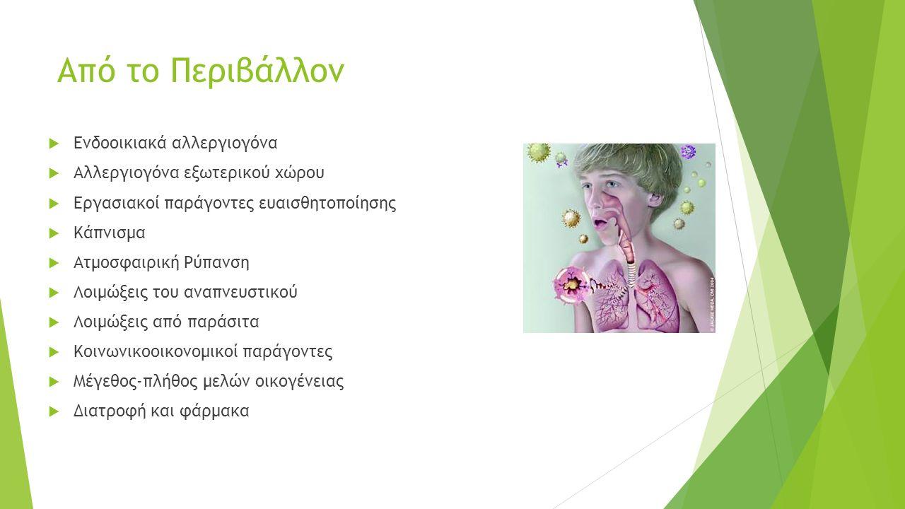 Από το Περιβάλλον  Ενδοοικιακά αλλεργιογόνα  Αλλεργιογόνα εξωτερικού χώρου  Εργασιακοί παράγοντες ευαισθητοποίησης  Κάπνισμα  Ατμοσφαιρική Ρύπανση  Λοιμώξεις του αναπνευστικού  Λοιμώξεις από παράσιτα  Κοινωνικοοικονομικοί παράγοντες  Μέγεθος-πλήθος μελών οικογένειας  Διατροφή και φάρμακα