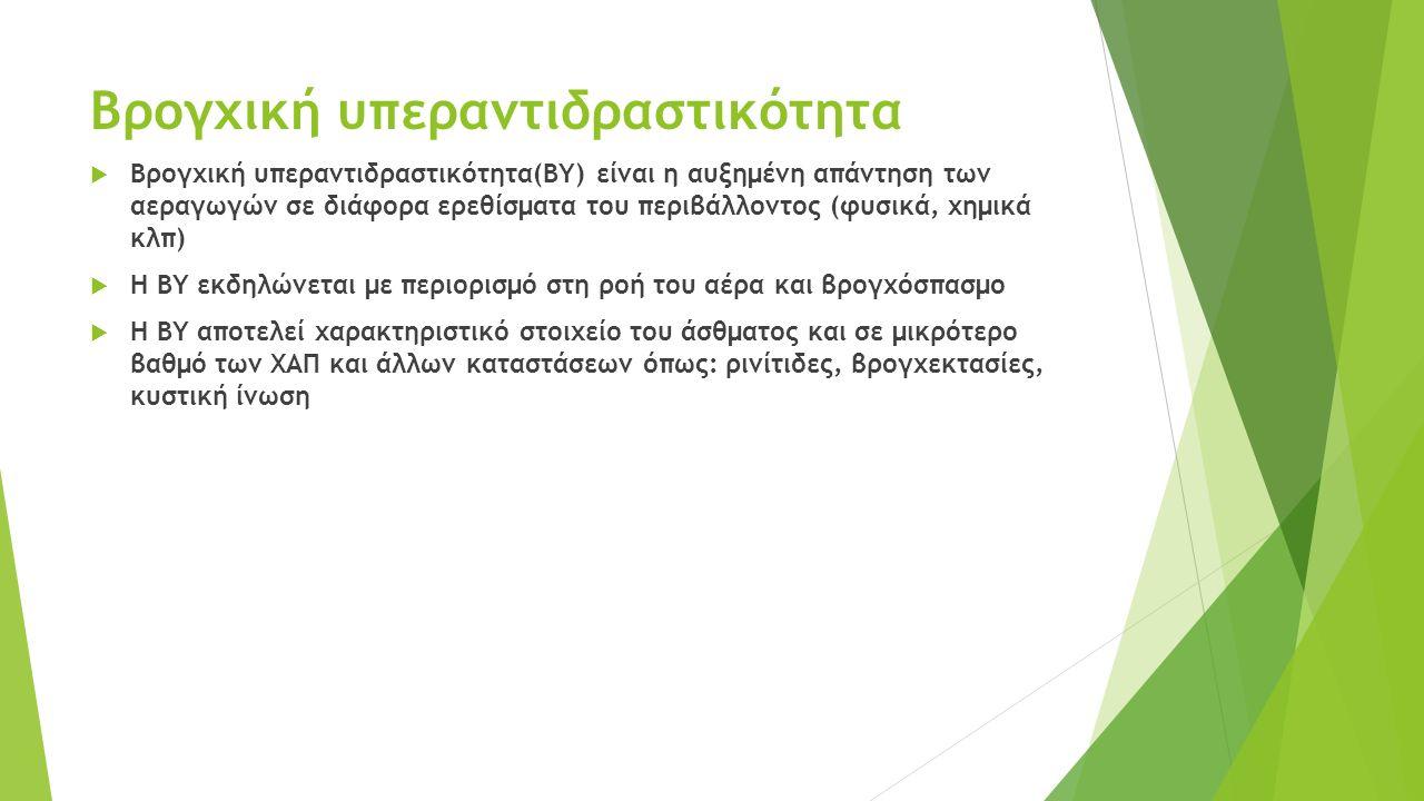 Βρογχική υπεραντιδραστικότητα  Βρογχική υπεραντιδραστικότητα(ΒΥ) είναι η αυξημένη απάντηση των αεραγωγών σε διάφορα ερεθίσματα του περιβάλλοντος (φυσ