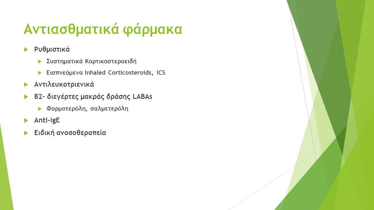 Αντιασθματικά φάρμακα  Ρυθμιστικά  Συστηματικά Κορτικοστεροειδή  Εισπνεόμενα Inhaled Corticosteroids, ICS  Αντιλευκοτριενικά  β2- διεγέρτες μακράς δράσης LABAs  Φορμοτερόλη, σαλμετερόλη  Anti-IgE  Eιδική ανοσοθεραπεία