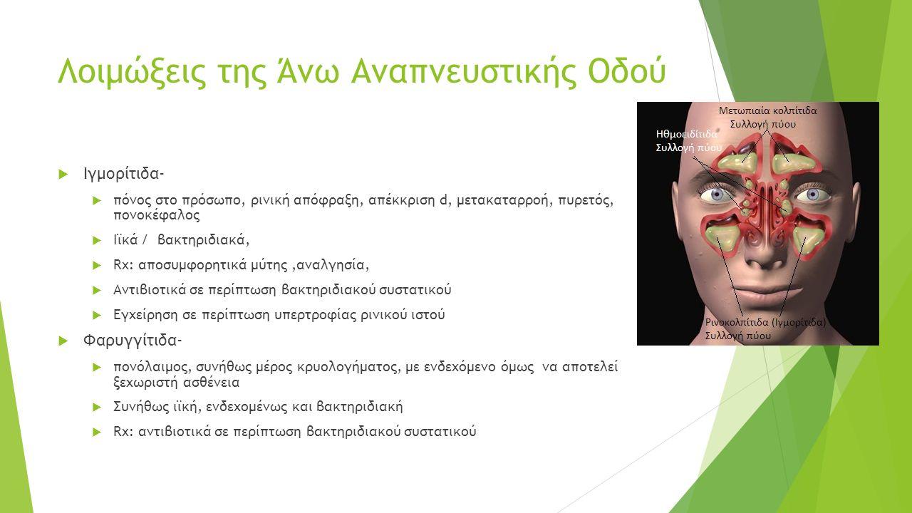Λοιμώξεις της Άνω Αναπνευστικής Οδού  Ιγμορίτιδα-  πόνος στο πρόσωπο, ρινική απόφραξη, απέκκριση d, μετακαταρροή, πυρετός, πονοκέφαλος  Ιϊκά / βακτηριδιακά,  Rx: αποσυμφορητικά μύτης,αναλγησία,  Αντιβιοτικά σε περίπτωση βακτηριδιακού συστατικού  Εγχείρηση σε περίπτωση υπερτροφίας ρινικού ιστού  Φαρυγγίτιδα-  πονόλαιμος, συνήθως μέρος κρυολογήματος, με ενδεχόμενο όμως να αποτελεί ξεχωριστή ασθένεια  Συνήθως ιϊκή, ενδεχομένως και βακτηριδιακή  Rx: αντιβιοτικά σε περίπτωση βακτηριδιακού συστατικού