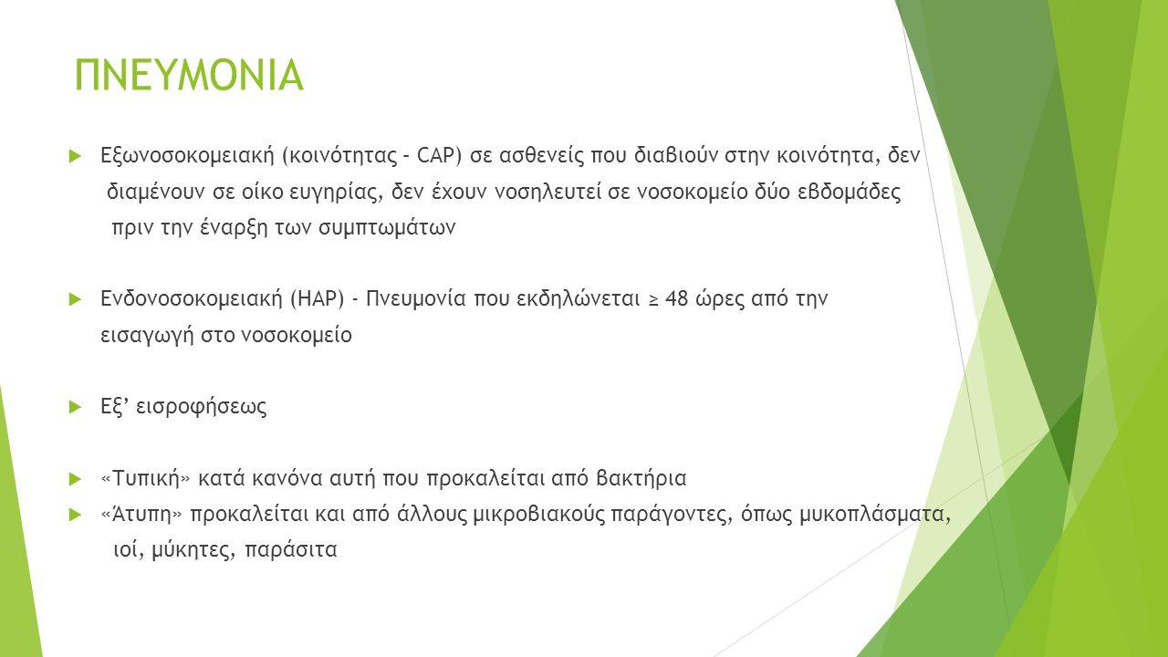 ΠΝΕΥΜΟΝΙΑ  Εξωνοσοκομειακή (κοινότητας – CAP) σε ασθενείς που διαβιούν στην κοινότητα, δεν διαμένουν σε οίκο ευγηρίας, δεν έχουν νοσηλευτεί σε νοσοκομείο δύο εβδομάδες πριν την έναρξη των συμπτωμάτων  Ενδονοσοκομειακή (ΗΑΡ) - Πνευμονία που εκδηλώνεται ≥ 48 ώρες από την εισαγωγή στο νοσοκομείο  Εξ' εισροφήσεως  «Τυπική» κατά κανόνα αυτή που προκαλείται από βακτήρια  «Άτυπη» προκαλείται και από άλλους μικροβιακούς παράγοντες, όπως μυκοπλάσματα, ιοί, μύκητες, παράσιτα