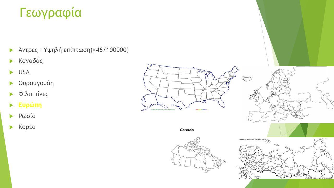 Γεωγραφία  Άντρες - Υψηλή επίπτωση(>46/100000)  Καναδάς  USA  Ουρουγουάη  Φιλιππίνες  Ευρώπη  Ρωσία  Κορέα
