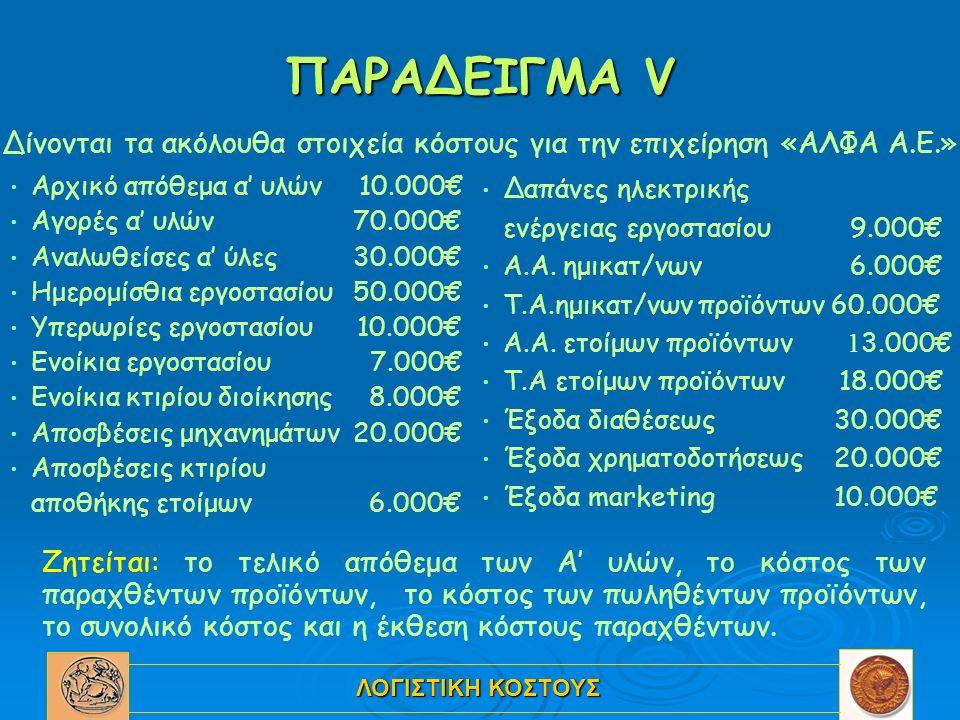 ΛΟΓΙΣΤΙΚΗ ΚΟΣΤΟΥΣ ΠΑΡΑΔΕΙΓΜΑ V Αρχικό απόθεμα α' υλών 10.000€ Αγορές α' υλών 70.000€ Αναλωθείσες α' ύλες 30.000€ Ημερομίσθια εργοστασίου 50.000€ Υπερωρίες εργοστασίου 10.000€ Ενοίκια εργοστασίου 7.000€ Ενοίκια κτιρίου διοίκησης 8.000€ Αποσβέσεις μηχανημάτων 20.000€ Αποσβέσεις κτιρίου αποθήκης ετοίμων 6.000€ Δαπάνες ηλεκτρικής ενέργειας εργοστασίου 9.000€ Α.Α.