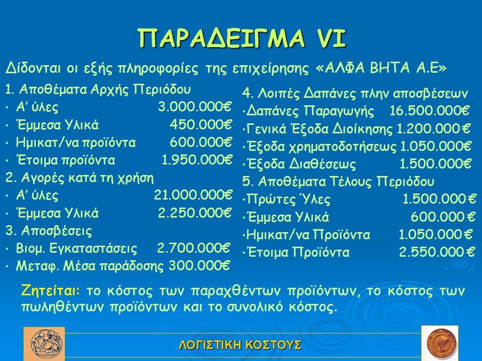 ΛΟΓΙΣΤΙΚΗ ΚΟΣΤΟΥΣ ΠΑΡΑΔΕΙΓΜΑ VI 1. Αποθέματα Αρχής Περιόδου Α' ύλες 3.000.000€ Έμμεσα Υλικά 450.000€ Ημικατ/να προϊόντα 600.000€ Έτοιμα προϊόντα 1.950