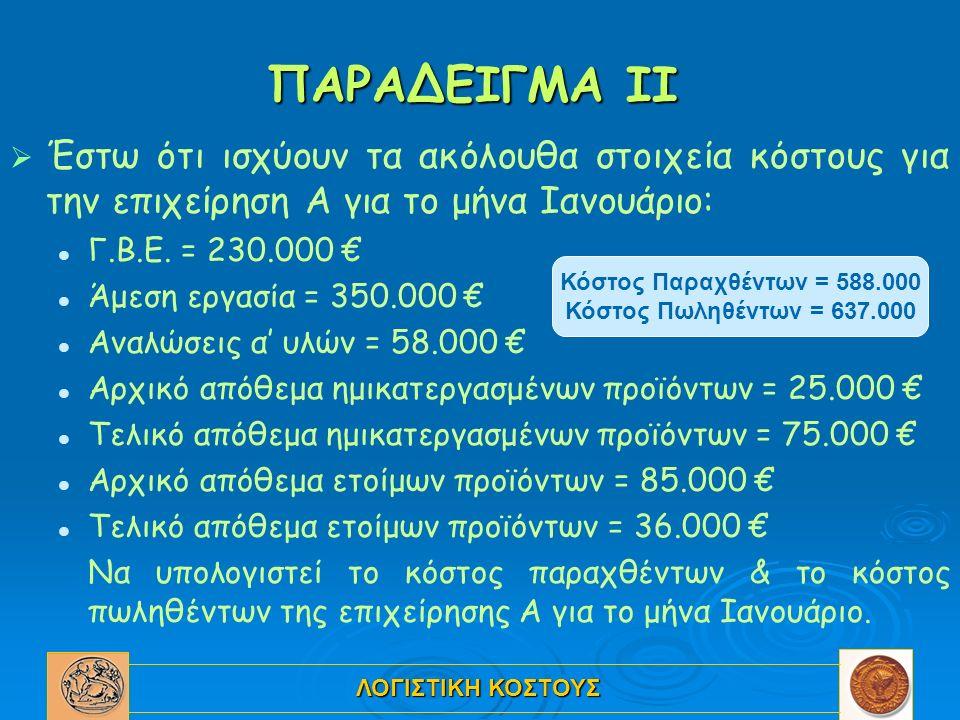 ΛΟΓΙΣΤΙΚΗ ΚΟΣΤΟΥΣ ΠΑΡΑΔΕΙΓΜΑ ΙΙ   Έστω ότι ισχύουν τα ακόλουθα στοιχεία κόστους για την επιχείρηση Α για το μήνα Ιανουάριο: Γ.Β.Ε. = 230.000 € Άμεση