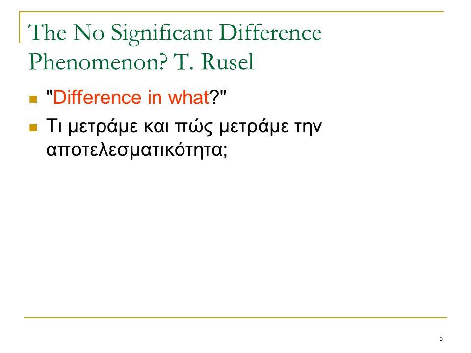6 The No Significant Difference Phenomenon.