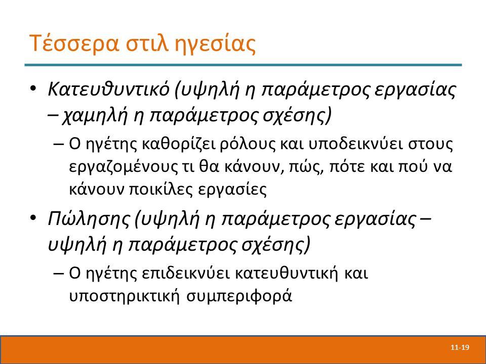 11-19 Τέσσερα στιλ ηγεσίας Κατευθυντικό (υψηλή η παράμετρος εργασίας – χαμηλή η παράμετρος σχέσης) – Ο ηγέτης καθορίζει ρόλους και υποδεικνύει στους ε