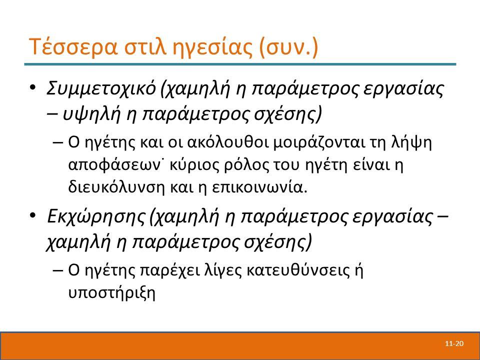 11-20 Τέσσερα στιλ ηγεσίας (συν.) Συμμετοχικό (χαμηλή η παράμετρος εργασίας – υψηλή η παράμετρος σχέσης) – Ο ηγέτης και οι ακόλουθοι μοιράζονται τη λή