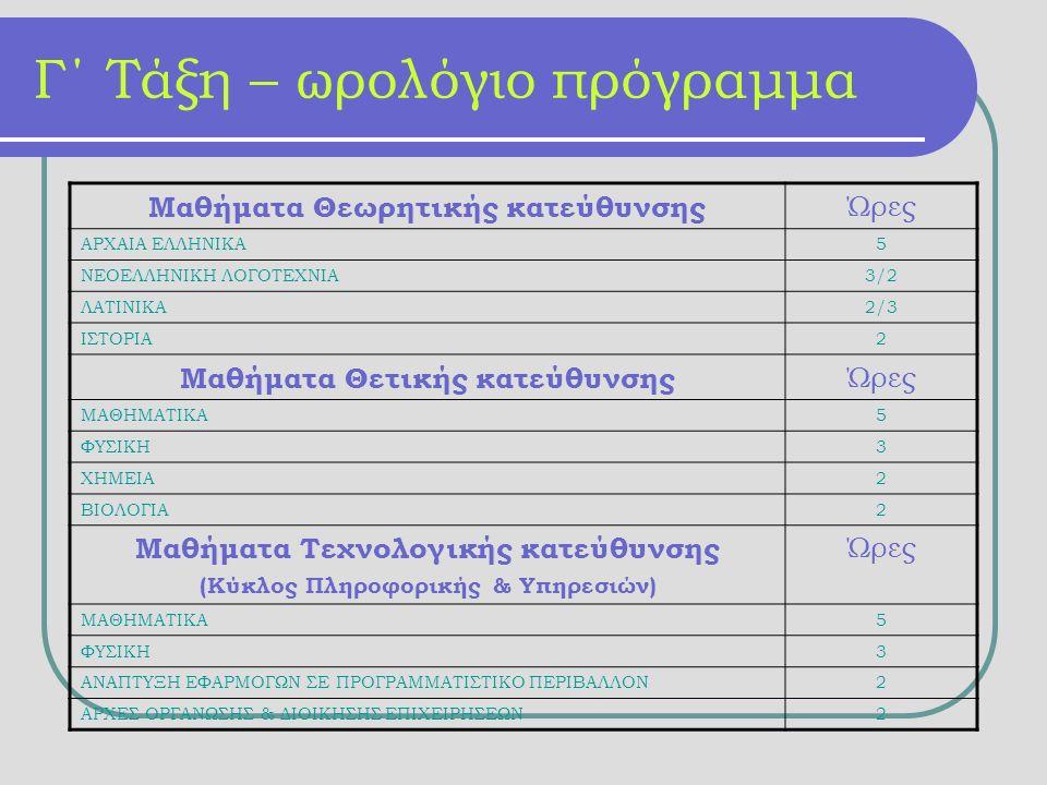 Γ΄ Τάξη – ωρολόγιο πρόγραμμα Μαθήματα Θεωρητικής κατεύθυνσης Ώρες ΑΡΧΑΙΑ ΕΛΛΗΝΙΚΑ5 ΝΕΟΕΛΛΗΝΙΚΗ ΛΟΓΟΤΕΧΝΙΑ3/2 ΛΑΤΙΝΙΚΑ2/3 ΙΣΤΟΡΙΑ2 Μαθήματα Θετικής κατεύθυνσης Ώρες ΜΑΘΗΜΑΤΙΚΑ5 ΦΥΣΙΚΗ3 ΧΗΜΕΙΑ2 ΒΙΟΛΟΓΙΑ2 Μαθήματα Τεχνολογικής κατεύθυνσης (Κύκλος Πληροφορικής & Υπηρεσιών) Ώρες ΜΑΘΗΜΑΤΙΚΑ5 ΦΥΣΙΚΗ3 ΑΝΑΠΤΥΞΗ ΕΦΑΡΜΟΓΩΝ ΣΕ ΠΡΟΓΡΑΜΜΑΤΙΣΤΙΚΟ ΠΕΡΙΒΑΛΛΟΝ2 ΑΡΧΕΣ ΟΡΓΑΝΩΣΗΣ & ΔΙΟΙΚΗΣΗΣ ΕΠΙΧΕΙΡΗΣΕΩΝ2