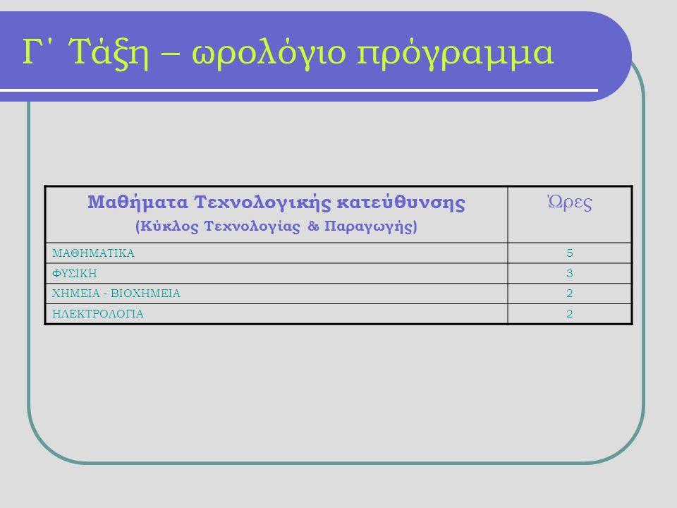 Γ΄ Τάξη – ωρολόγιο πρόγραμμα Μαθήματα Τεχνολογικής κατεύθυνσης (Κύκλος Τεχνολογίας & Παραγωγής) Ώρες ΜΑΘΗΜΑΤΙΚΑ5 ΦΥΣΙΚΗ3 ΧΗΜΕΙΑ - ΒΙΟΧΗΜΕΙΑ2 ΗΛΕΚΤΡΟΛΟΓΙΑ2